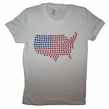 womens USA star america t shirt graphic tee patriotic vintage new red white blue