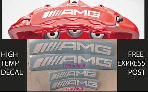 AMG BRAKE CALIPER DECAL HIGH TEMP (12.5cm & 7cm) White Curved Sticker Set x 4