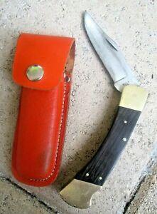 Vintage Buck 110 Folding Knife, 2 Dots (1972-86),Rosewood Handle, Leather Sheath