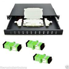 Fiber Optic Patch Panel,Enclosure, 1U,Rackmount,12 Port Loaded SC/APC Duplex