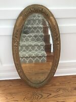 Shabby Antique Oval Barbola Roses Large Mirror gesso italian french 46x24