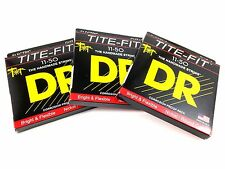 DR Guitar Strings Electric 3 Pack Tite-Fit 11-50 Extra Heavy Handmade USA