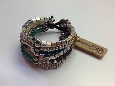 "NWT Uno de 50 Silver-Plated/Earth Tone Crystals Bracelet ""Juggling Balls"" $185"