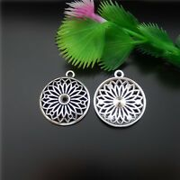 20pcs Vintage Silver Alloy Hollowed Round Flower Charms Pendant Findings 51585