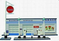 IMEX 6107 HO SCALE GAS STATION W PUMPS SIGN PAINTED RESIN BUILDING FREE SHIP