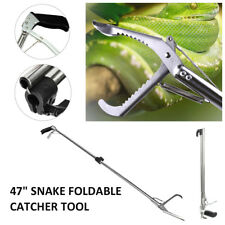 "47"" Reptile Snake Tongs Stick Grabber Foldable Catcher Wide Jaw Tool Heavy Duty"