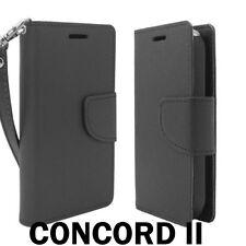 For ZTE Concord II 2 Z730 - PU LEATHER ID CARD WALLET FLIP POUCH SKIN CASE BLACK
