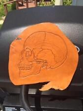 "Original Hand Tooled Leather Art. Skull. Handcrafted Wall Art/Decor. 7"" x 8 1/2"""