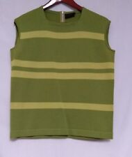 Amalfi Imports Womens Green Stripe 100% Wool Hand Loomed Italy Sleeveless Shirt