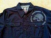 Metal Mulisha Long Sleeve Woven Shirt Mens M Black w/Skull & Pockets NWT