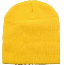 Solid Yellow Gold Smooth Textured Beanie Knit Stocking Cap Skully Winter Hat