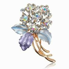 Diamante Flower Enamel Rhinestone Elegant Purple Breastpin Pin Brooch Bouquet