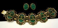 "Rare Vintage Selro Goldtone Green Glass 7-1/2"" Bracelet & 1"" Earring Set A49"