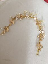 Gold Wire Leaves Diamante Ivory Pearl Hair Vine Bridal Wedding PROM Accessories
