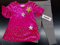 Toddler & Girls Flapdoodles 2pc Pink Velour Shirt w/ Leggings Size 2/2T - 6X