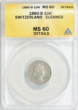 1880-B SWITZERLAND 10 RAPPAN ANACS MS-60 DETAILS (Cleaned)
