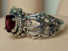 NATURAL red rhodolite garnet antique 925 sterling silver filigre ring size 8 USA