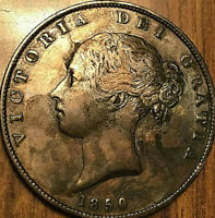 1850 GREAT BRITAIN VICTORIA SILVER HALF CROWN COIN - Cleaned and with spots