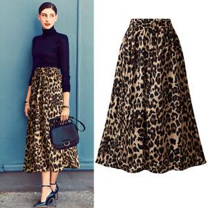 Faux Velvet Leopard Print High Waist Long Skirts Retro Chic Plus Size Womens
