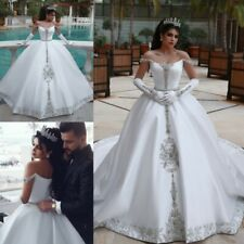 White Wedding Dresses Rhinestone Bridal Ball Gowns Off Shoulder Beading Belt New