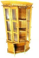 """DOLL HOUSE MINIATURE VTG WOOD BREAKFRONT CABINET 9""""T X 5""""W ROOM BOX HOME DECOR"""