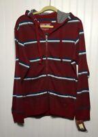 URBAN PIPELINE UP NWT Men's Sz S Full Zip Hoodie Jacket Red Striped Cotton