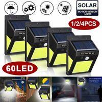 60LED COB Solar Power Light PIR Motion Sensor Security Outdoor Garden Wall Lamp