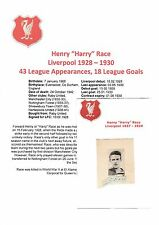 HARRY RACE LIVERPOOL 1928-1930 EXTREMELY RARE ORIG HAND SIGNED CUTTING/CARD