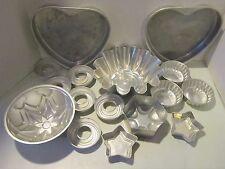 Vint lot 16 pcs aluminum molds - cake hearts- fluted - stars - for cakes & Jello