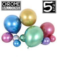 "25pcs 5"" Inch Metallic Pearl Chrome Latex Balloons for Birthday Wedding Party UK"