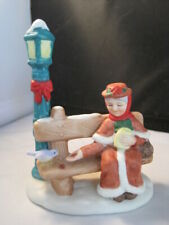 Vintage Lefton Park Bench Woman Porcelain Figurine Bird Lamplight