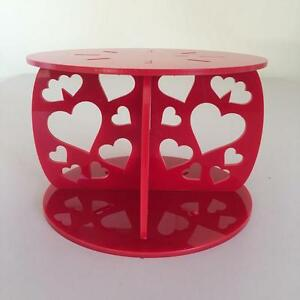 Hearts Design Round Wedding/Party Cake Separators - Red Acrylic