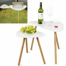 Set of 2 Wooden Coffee Table Set Modern Tea Tables Side End Table Home White AU