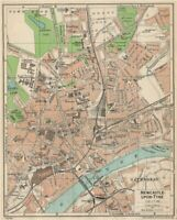 NEWCASTLE-UPON-TYNE. Vintage town city map plan. Northumberland 1950 old