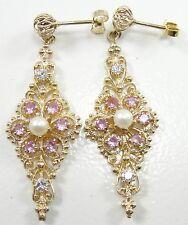 """14K Yellow Gold Diamond Pink Topaz Pearl Chandelier Earrings Filigree 1 3/4"""""""