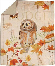 Owl Lodge ~ Fall & Autumn Leaves Quilt Throw