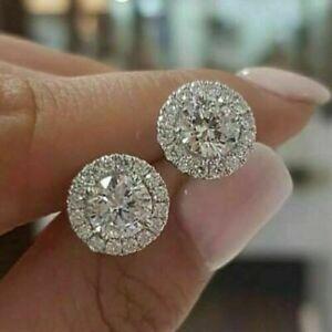 925 Silver,Gold Stud Earrings for Women Fashion Wedding Fine Jewelry A Pair/set