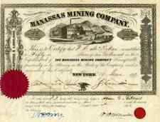 1853 Manassas Mining Stock Certificate