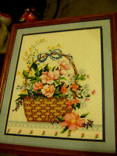 Summer Special/ Complete/ Cross Stitch/ Basket of flowers/ with blue matting