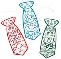 Pack of 12 - Colour Your Own Fuzzy Christmas Ties - Party Bag Activity Fillers