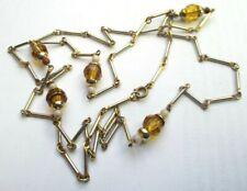 Ancien grand collier style sautoir doré perles de verre beau bijou vintage 5155
