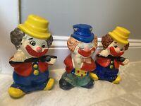 Piggy Bank Clown Vintage Lot Of 3 Ceramic Circus Antique Colorful Collectible