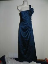 Davids Bridal Dress Size 4 Peacock Bridesmaid F14430 Prom Satin NWT $159