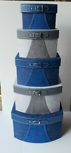 Set of 5 Nesting Boxes Blue and Gray Faux Suede & Faux Leather w/Buckles, used