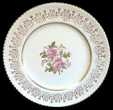 Vin Johnson Bros Old English Dinner Plate Floral & Gold Filigree Scalloped JB624