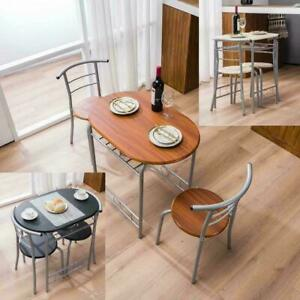NEW 3 PCS Bistro Dining Set Table and 2 Chairs Kitchen Furniture Home LightBrown