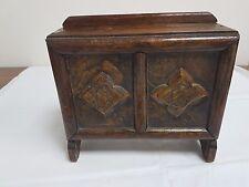 Caoba & Caja De Colección Década de 1930 limosna De Roble Tallada