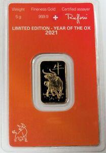 2021 ARGOR HERAEUS GOLD 5 GRAMS LUNAR YEAR OF THE OX 999.9 FINE SEALED BAR 5g