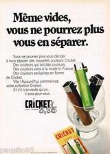 PUBLICITE ADVERTISING 105  1970  CRICKET  automatic briquet jetable