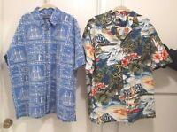 Sz XL Two (2) Men's Shirts (Nautical & Hawaiian) Cotton #423*